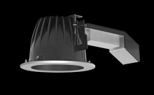 "RAB Lighting RDLED6R20-80YN-B-S - REMODELER 6"" ROUND 20W 3500K DIM TRIAC 80 DEGREES BLACK CONE SILVER RING"