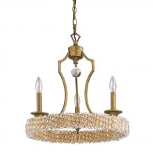 Acclaim Lighting IN11011RB - Ava 3-Light Raw Brass Chandelier With Rope And Crystal Accents